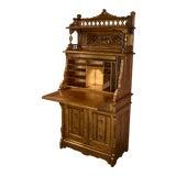 Image of 1940s Victorian Eastlake Style Carved Slant Front Secretary Desk For Sale
