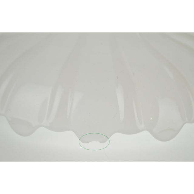 Vintage Opalescent White Glass Pendant Light Shades - a Pair For Sale - Image 10 of 13