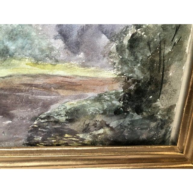 Late 19th Century 1891 Impressionist English Landscape Watercolor Painting, Framed For Sale - Image 5 of 10