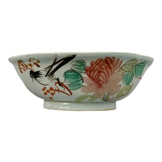 Chinese Porcelain Bowl With Flowers and Poem on the Reverse For Sale