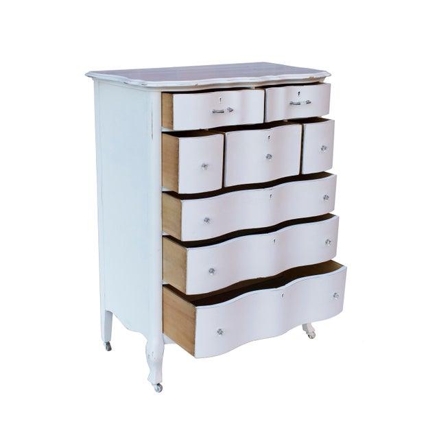 Boho Chic White Shabby Chic Highboy Dresser by j.b. Van Sciver of Camden, Nj For Sale - Image 3 of 10