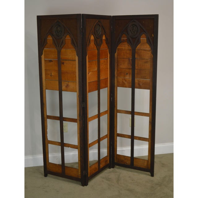 High Quality Oak Folding Screen in Need of Upholstery with Bronze Renaissance Style Plaques