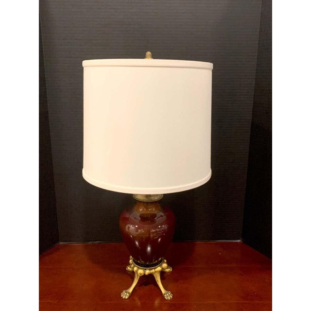 Sang De Boeuf, Ormolu Mounted Vase by Rookwood 1936 Now as a Lamp, Dark Glaze For Sale - Image 4 of 5