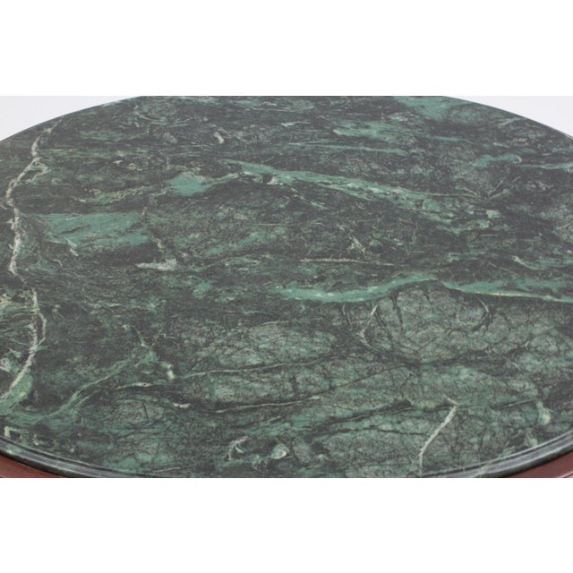 1990s Vintage Green Marble Oval Accent Table For Sale - Image 4 of 8