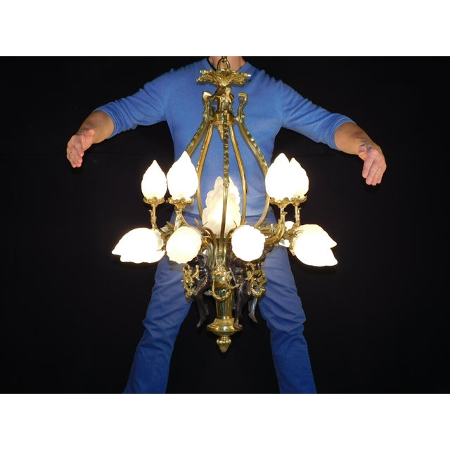 Antique Bronze Maidens Flame Globe Chandelier For Sale - Image 13 of 13