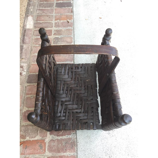 Leather and Wood Firewood Holder - Image 2 of 5