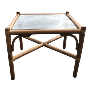 Rattan Square End Table For Sale