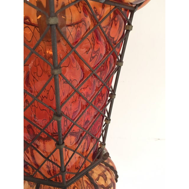 Murano Vintage Reddish Orange Murano Baloton Style Glass Single Pendant Light For Sale - Image 4 of 9
