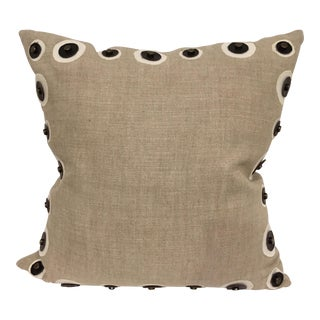 Natural Linen and Leather Toss Pillow For Sale