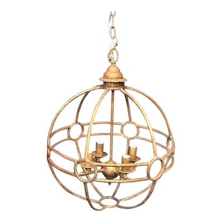 Italian Iron Globe Chandelier For Sale