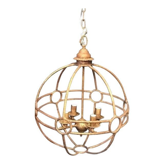 Italian Iron Globe Chandelier For Sale