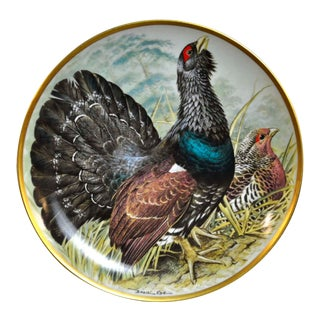 Franklin Limoges Porcelain Wall Plate Gamebirds Motif Limited Edition 1979 France Capercaillie For Sale