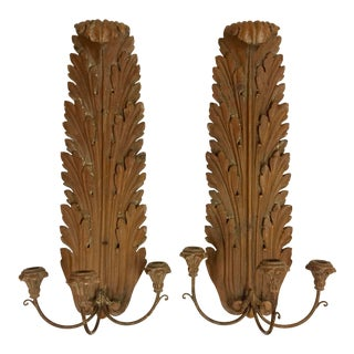 1950's Vintage Neoclassical Italian Wood Carved Wall Sconces - a Pair For Sale