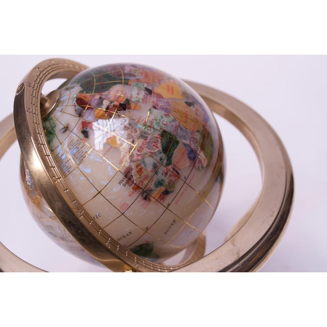 Beige Contemporary Petite Desk Globe in Brass, Gemstones, and Mother of Pearl For Sale - Image 8 of 13