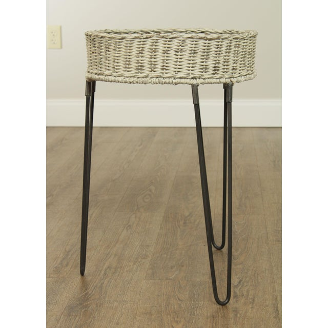 Round Wicker Planter Table With Hairpin Legs For Sale - Image 4 of 12
