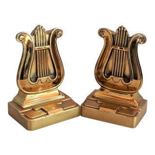 Brass Musical Lyre Bookends - by Pm Craftsman For Sale