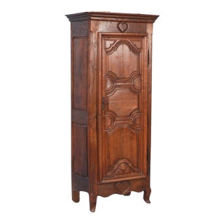 Early 19th Century Antique French Single Door Walnut Armoire With Hearts For Sale