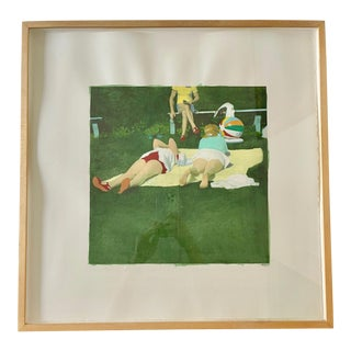 """2006 """"Grassy Beach, Yellow Shirt"""" Contemporary Figurative Mixed-Media Painting by Isca Greenfield-Sanders, Framed"""