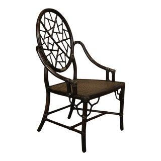 McGuire of Sanfrancisco Vintage Bamboo Regency Spider Back Armchair For Sale