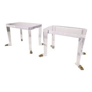Pair of Custom Designed Lion Feet on Acrylic Side Tables