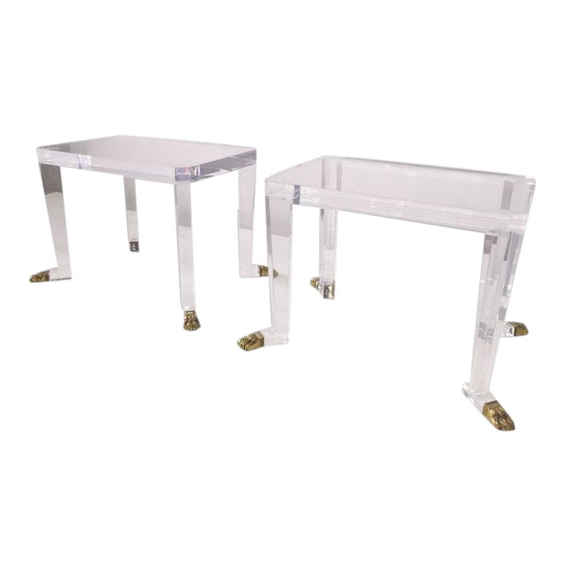Pair of Custom Designed Lion Feet on Acrylic Side Tables For Sale