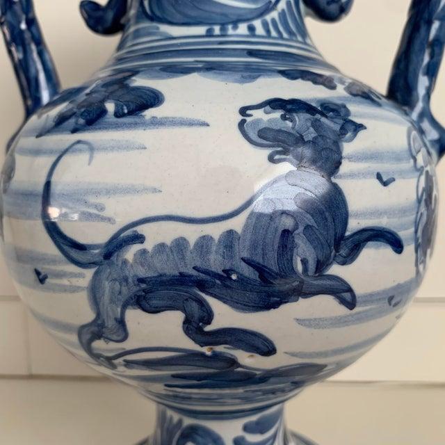 Spanish 20th Century Glazed Earthenware Spanish Blue and White Painted Urn, Vase For Sale - Image 3 of 13