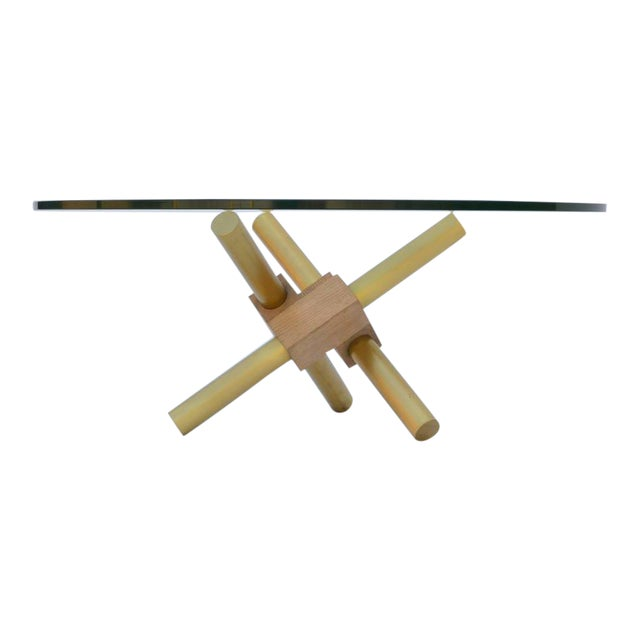 Small Round Tripod Brass and Glass Coffee Table For Sale