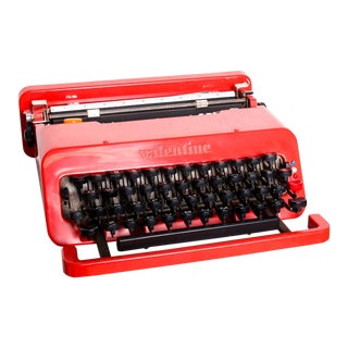 Vintage Olivetti Red Valentine Typewriter by Ettore Sottsass Memphis For Sale