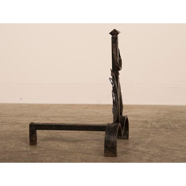 1940s Vintage French Modernist Hand Forged Fireplace Andirons Circa 1940 For Sale - Image 5 of 6