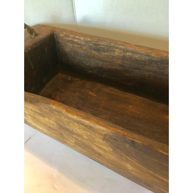 Wood 1940s Rustic Wood Trough/Bowl With Double Handles For Sale - Image 7 of 9