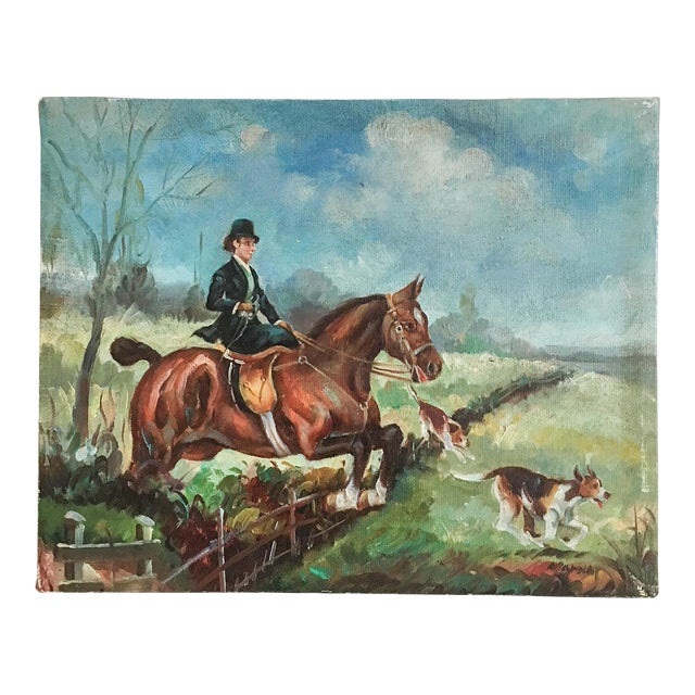 Equestrian Steeplechase with Hunting Hounds Petite Oil Painting - Image 1 of 9