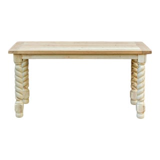 Bleached Wood Barley Twist Writing Table For Sale