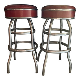 Mid-Century Modern Red Seats Bar Stools - a Pair For Sale