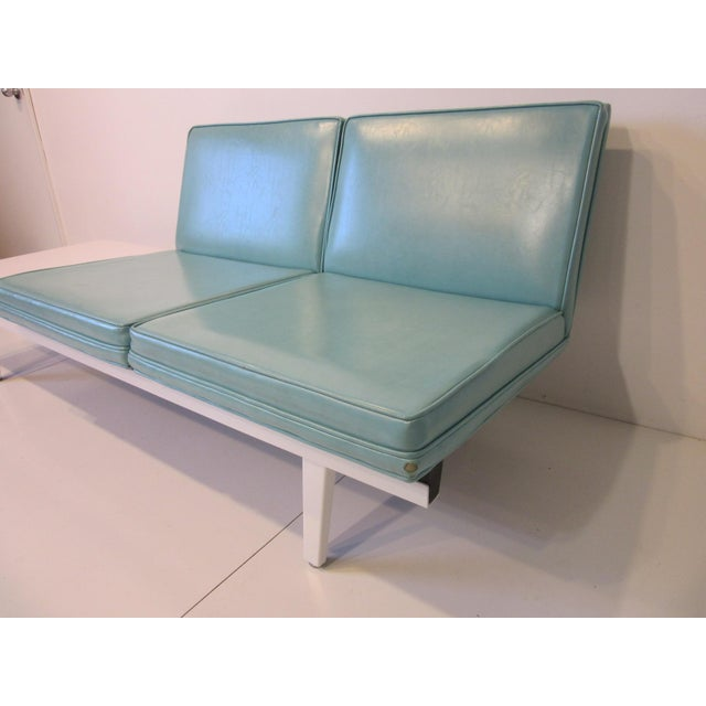 Mid-Century Modern George Nelson Steelframe Two Place Sofa With Side Table by Herman Miller For Sale - Image 3 of 7