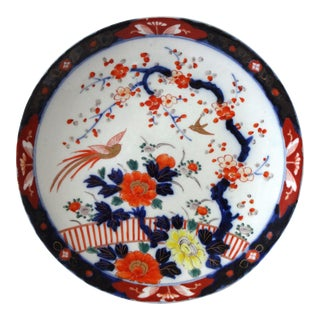 Antique Meiji Period Yamatoku Japanese Imari Plate With Blossom Branch For Sale