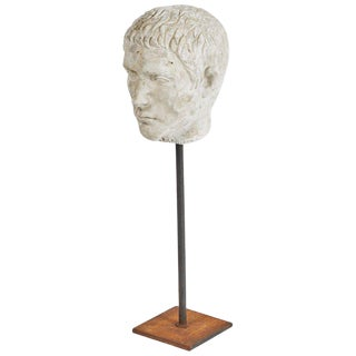 Carved Bust on Stand in Plaster For Sale