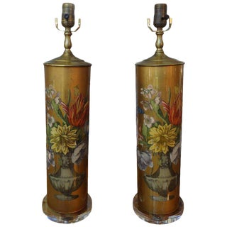 1960's Hollywood Regency Maison Jansen Style Eglomise Floral Lamps-A Paair For Sale