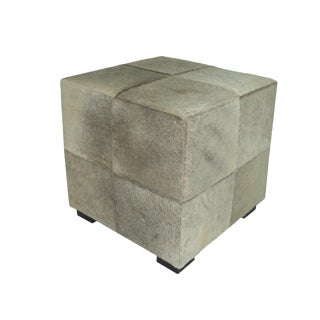 Modern Silver/Gray Cowhide Ottoman For Sale