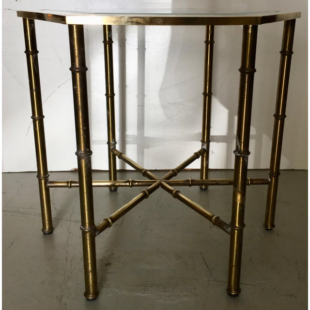 Mastercraft Brass Faux Bamboo Hexagonal Accent Table - Image 5 of 5