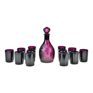 Vintage Amethyst Glass Decanter Set - 13 Piece Set