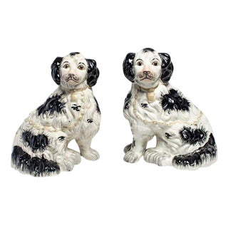 Gold Collared Staffordshire Dogs - a Pair For Sale