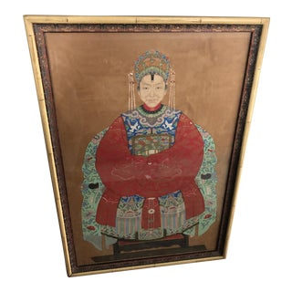 Vintage Asian Ancestral Portrait Painting For Sale