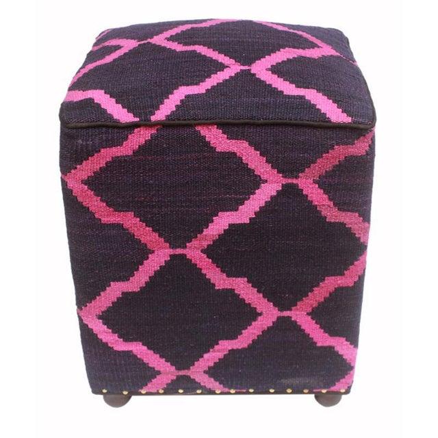 Asian Arshs Deirdre Blue/Pink Kilim Upholstered Handmade Ottoman For Sale - Image 3 of 8