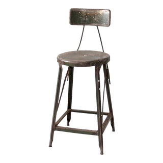 Vintage Industrial Metal Stool With Back For Sale