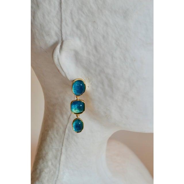 Goossens Paris Triple Drop Tinted Rock Crystal Clip Earrings For Sale In New York - Image 6 of 7