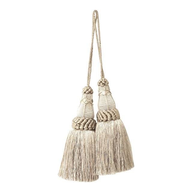 Pair of Key Tassels in Pewter With Looped Ruche Trim For Sale