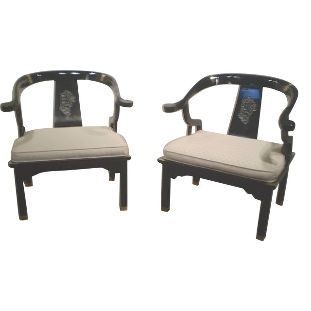 Chinese Lacquered Chippendale Chairs - A Pair - Image 1 of 6