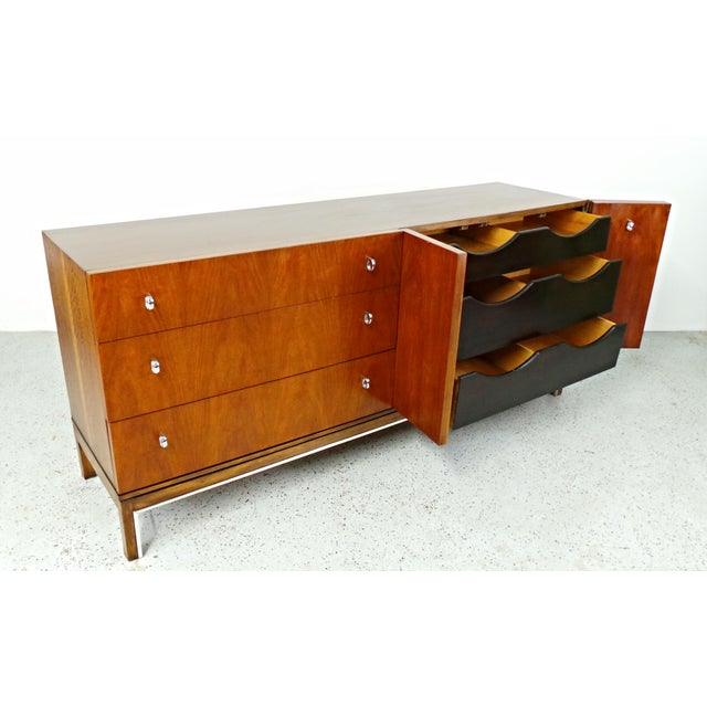 American of Martinsville Mid-Century Walnut & Chrome Dresser - Image 8 of 10
