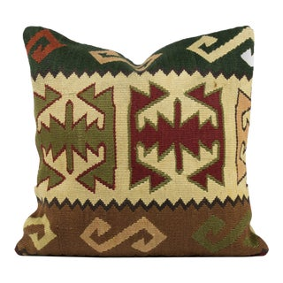 Vintage Turkish Square Pillow Cover- 16 Inch For Sale