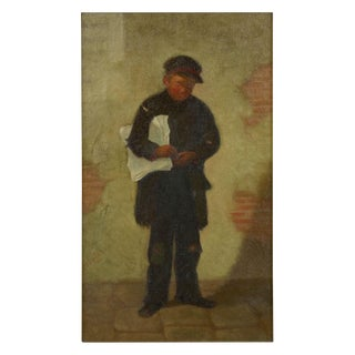 """Antique Oil Painting """"The Newsboy"""" by Charles Markham (American, 1837-1907) For Sale"""